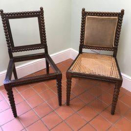 pair of bobbin chairs needing work
