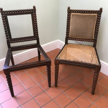 pair of bobbin chairs needing work