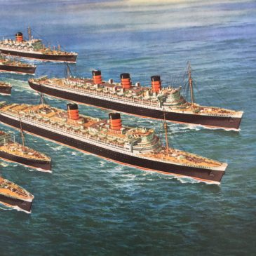 DETAIL FROM ORIGINAL 1950'S POSTER OF THE CUNARD FLEET
