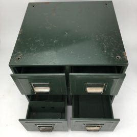 Green steel filing index cabinet