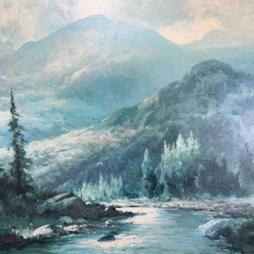 Large Vintage Robert Wood Mountain Stream Framed Print