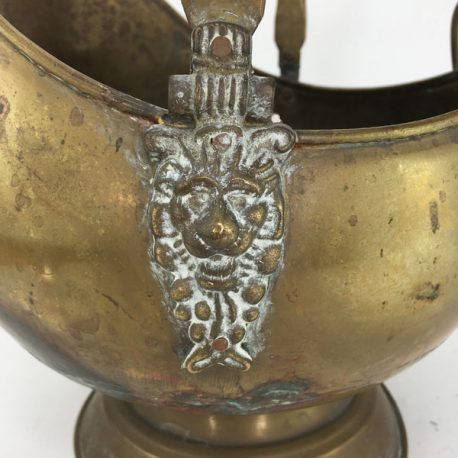Victorian brass lion headed coal scuttle with blue delft handles