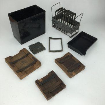 vintage darkroom equipment and film plate backs made of wood