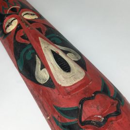 Vintage Fairground Art Carved Painted Red Head / Mask