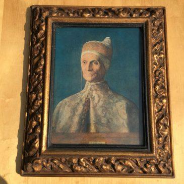 Doge Leonardo Loredano by Bellini heavily decorated papier mache frame