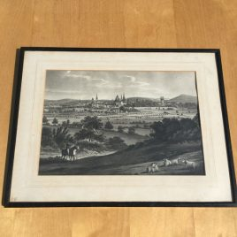 Antique engraving showing Oxford's spires in the distance through fields