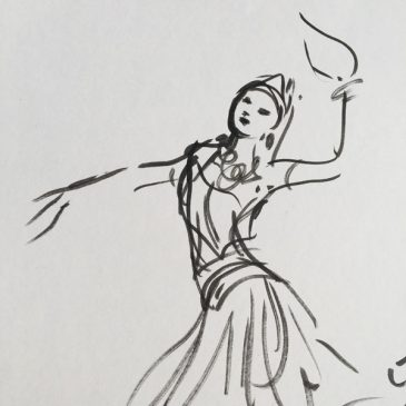 Original Charlotte Fawley Ballet drawings La Bayadere Corps de Ballet ROH 1998
