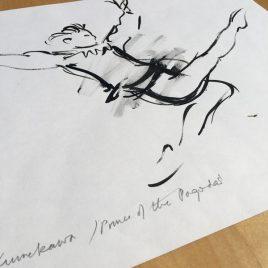 Charlotte Fawley original ballet drawing in ink of Teddy Kumakawa 1998