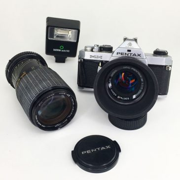 Pentax MX 35mm film camera with accessories