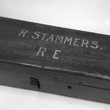 Antique wooden telescope box with name painted on the lid and damage to base panel