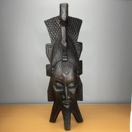 Freestanding carved wooden African head mask / statue
