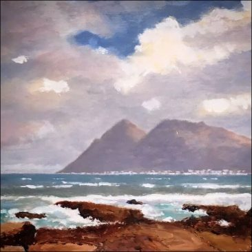 original oil on board costal scene by South African artist Phil Cloete
