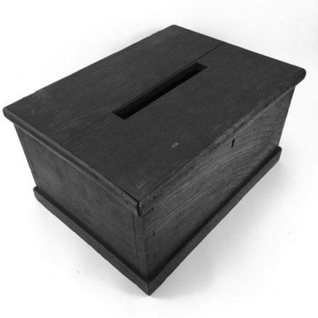 Antique 19th century oak ballot / voting / suggestion box