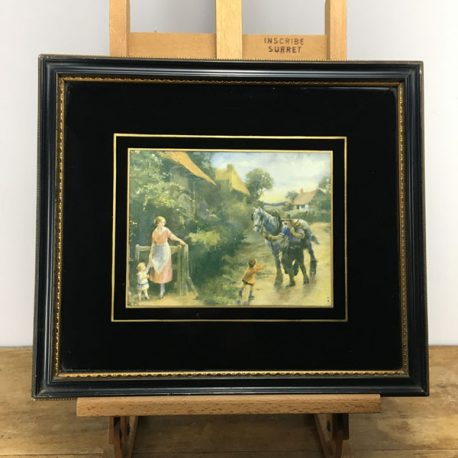 2x Verre Eglomise frames with rustic scenes